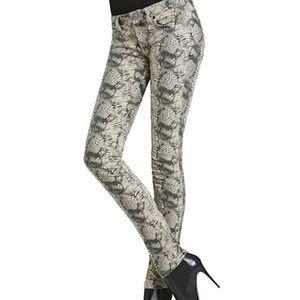 CAbi Women's Snakeskin Diamondback Skinny Jeans